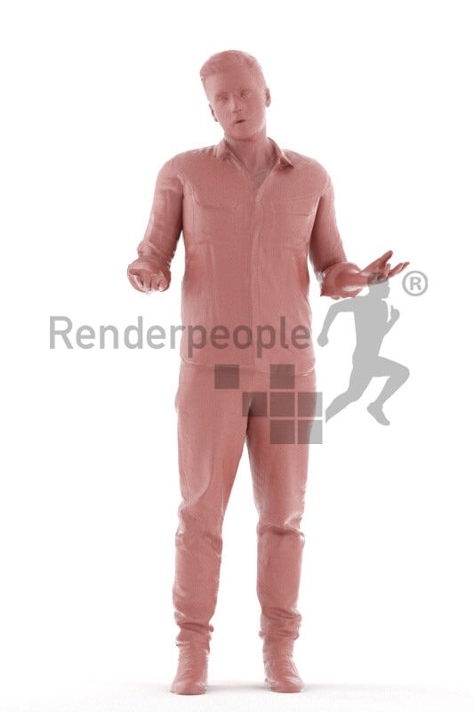 Human 3D model for animations – european man in smart casual look, talking, explaining