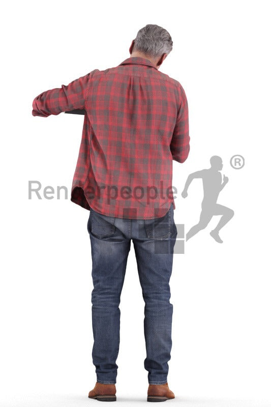 Photorealistic 3D People model by Renderpeople – european best ager man in casual daily look, standing and using his thermocan