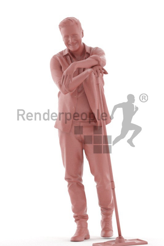 Scanned human 3D model by Renderpeople – middleaged european man, standing and leaning on a wiper