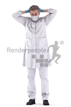 Scanned 3D People model for visualization – elderly white man in healthcare kilt, putting on a mask