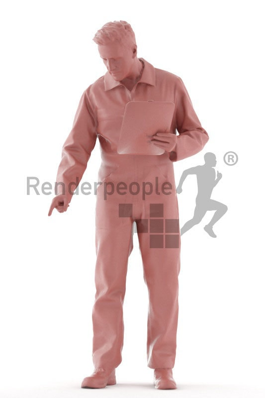Posed 3D People model for renderings – european male in workwear, holding a clipboard and pointing