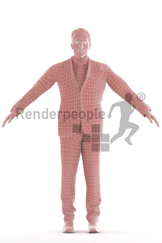 3d people business, 3d elderly white man rigged