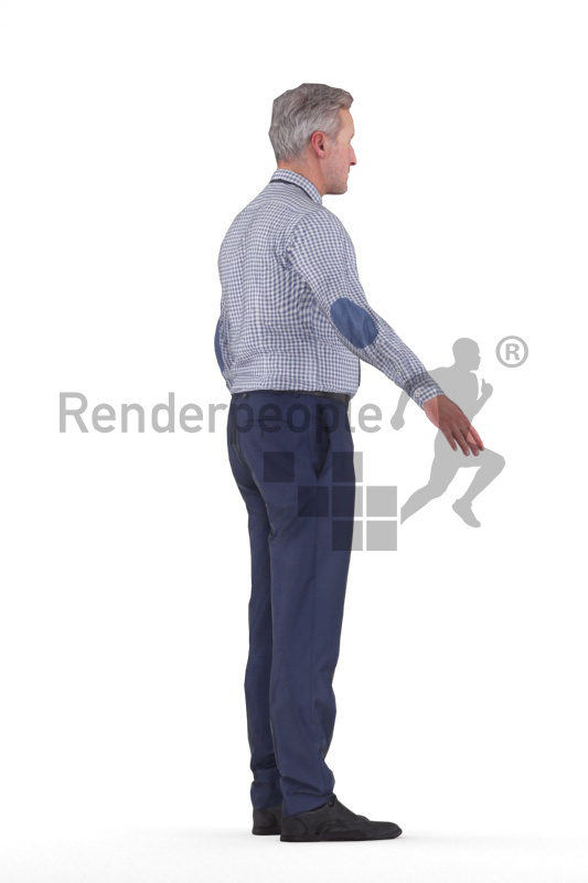 Rigged human 3D model by Renderpeople – elderly white man in business look