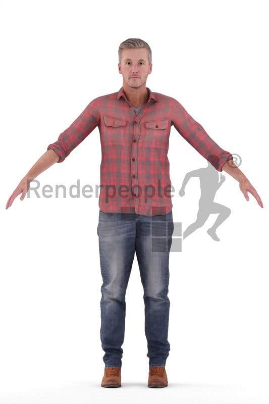 "Rigged 3D People model for Maya and Cinema 4D – """" middleaged european man, casual look"