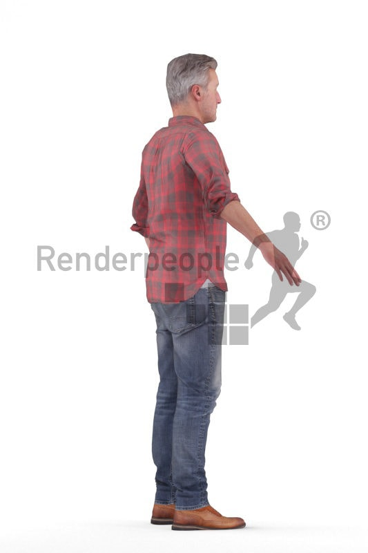 Scanned human 3D model by Renderpeople – middleaged european man, casual look