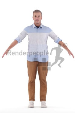Rigged human 3D model by Renderpeople – elderly white man in smart casual look