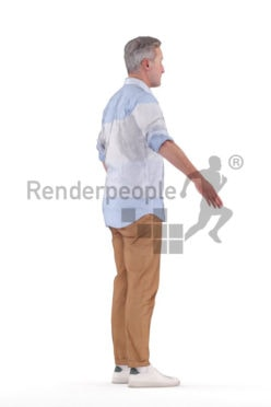 Rigged human 3D model by Renderpeople – elderly white man in smart casual look