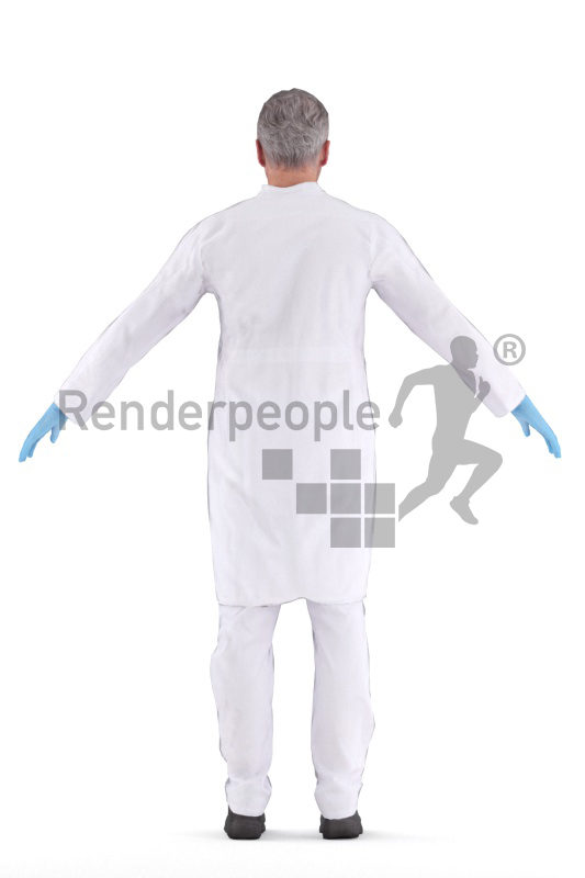 Rigged human 3D model by Renderpeople – middleaged eropean man in doctors outfit, medical healthcare