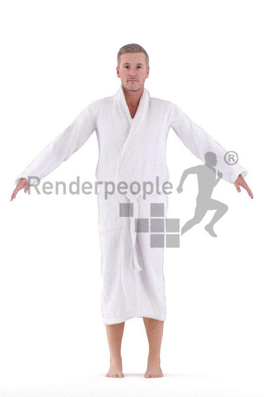 Rigged human 3D model by Renderpeople – european man in bathrobe