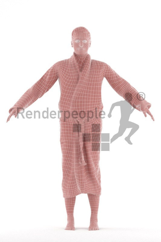 Rigged human 3D model by Renderpeople – european man in bathrobe
