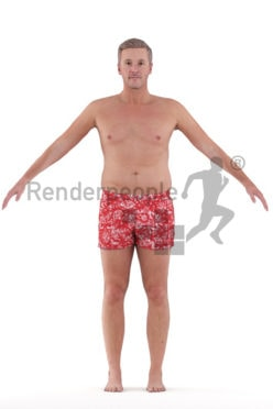 Rigged 3D People model for Maya and Cinema 4D – white man in swimmshorts