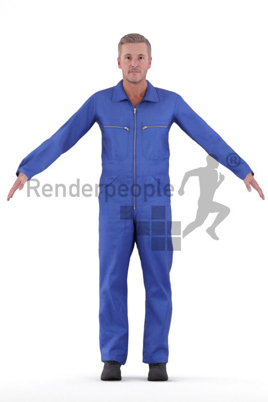 Rigged 3D People model for Maya and 3ds Max – middleaged european man in workwear