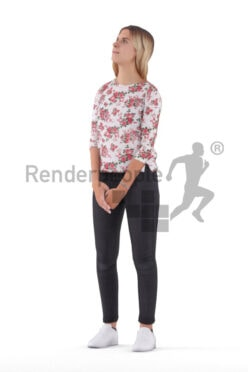 3D People model for animations – european woman in casual pullover