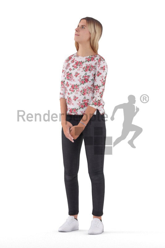 3D People model for animations – european woman in casual pullover, standing