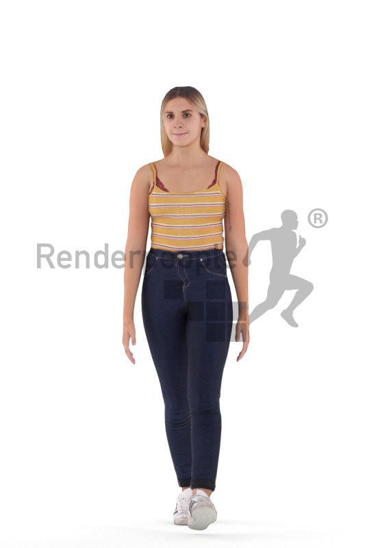 Animated 3D People model for visualization – european female in casual summer look