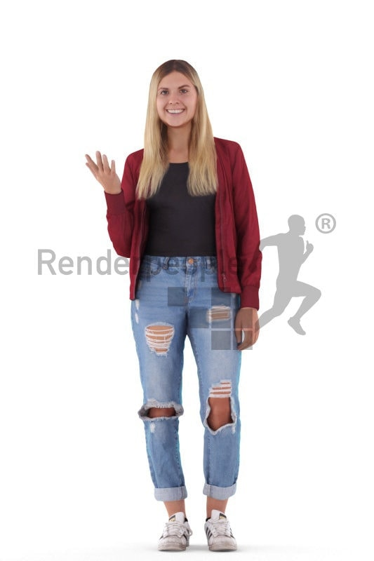 3d people casual, white 3d woman talking