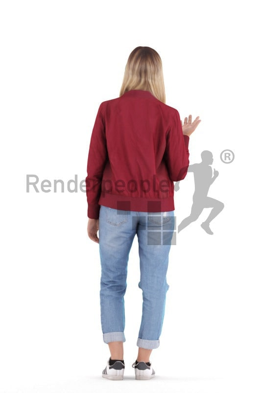 3d people casual, white 3d woman standing talking