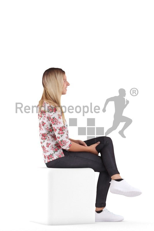 3d people casual, white 3d woman sitting and smiling