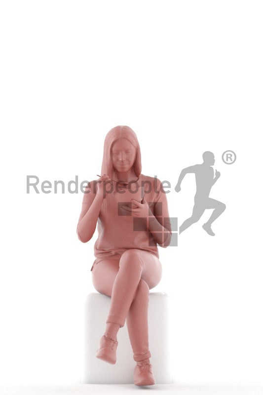 3d people casual, white 3d woman sitting and eating