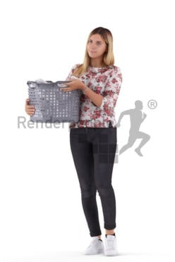 3d people casual, white 3d woman walking and doing laundry