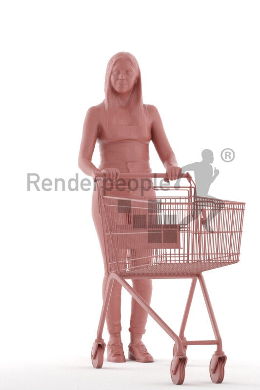 Photorealistic 3D People model by Renderpeople – european woman in casual daily look, with trolley in supermarket