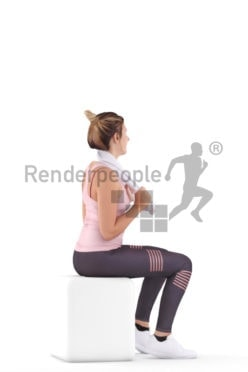 Scanned human 3D model by Renderpeople – european woman sitting in the gym with a towel