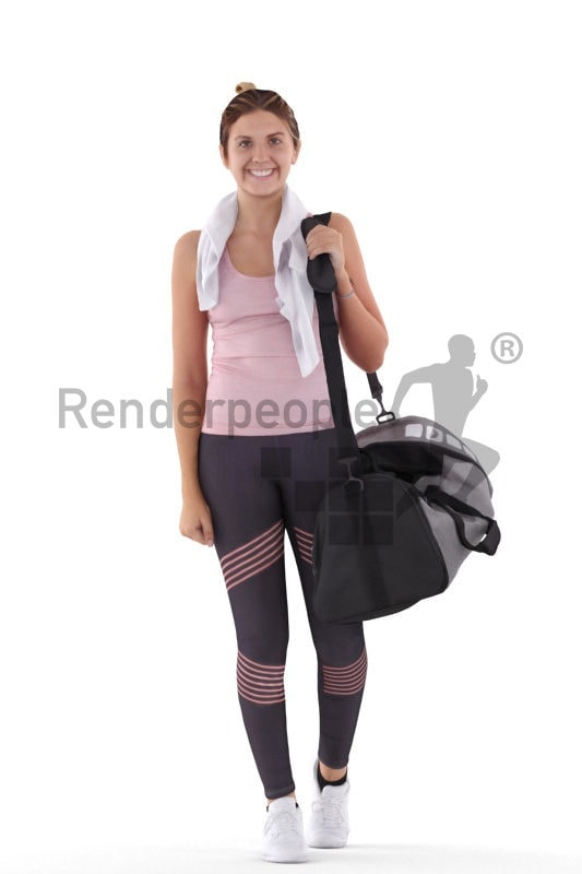3d people sports, white 3d woman carrying sports bag