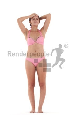 3d people swimwear, white 3d woman standing and showering