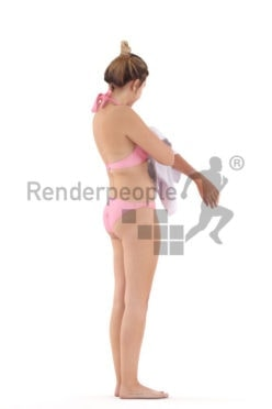 Posed 3D People model for visualization – european woman in bikini, drying her skin, beach and pool