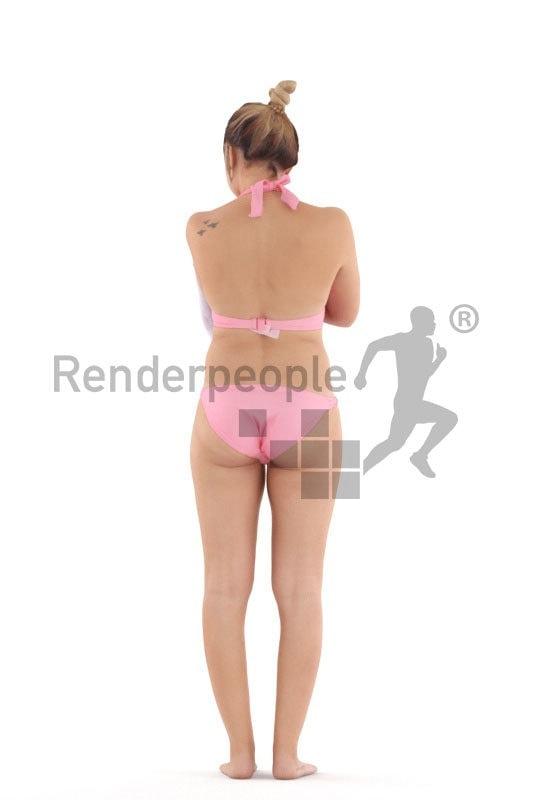 Posed 3D People model for visualization – european woman in bikini, drying her skin, beach and pool