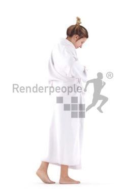 Realistic 3D People model by Renderpeople – european woman walking in bathrobe