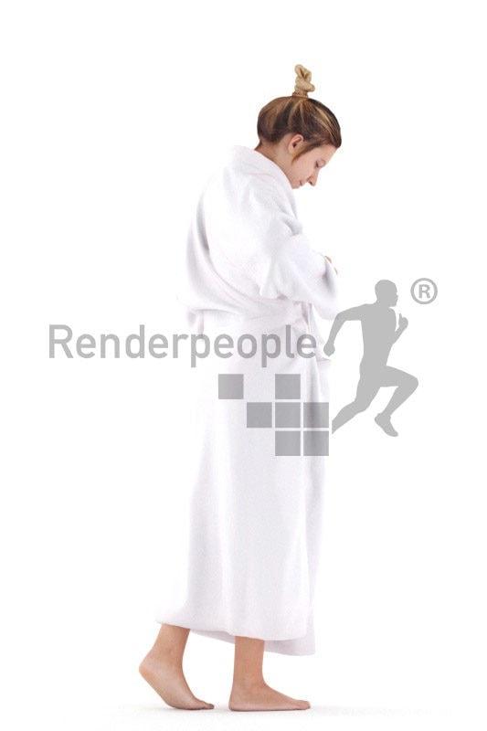 Realistic 3D People model by Renderpeople – european woman walking in bathrobe
