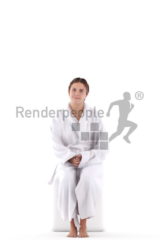 Realistic 3D People model by Renderpeople – european woman sitting in bathrobe