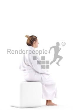Realistic 3D People model by Renderpeople – european woman sitting in bathrobe