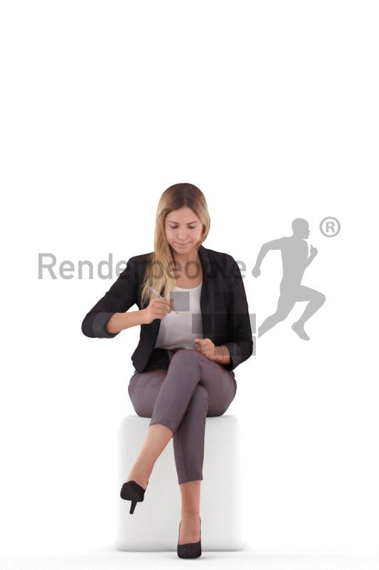 Posed 3D People model by Renderpeople – white female in office look, sitting and writing
