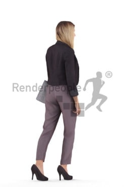 Realistic 3D People model by Renderpeople – white woman in office look with business bag, walking