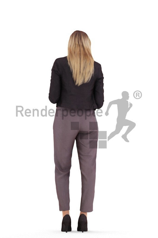 Posed 3D People model by Renderpeople – white female in office look, standid, texting and holding a coffe to go cup