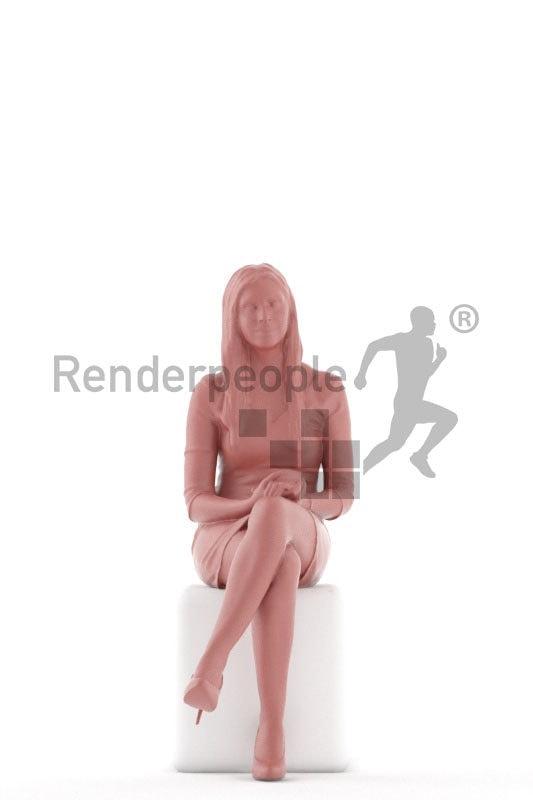 Posed 3D People model for renderings – european female, sitting in highheels, event