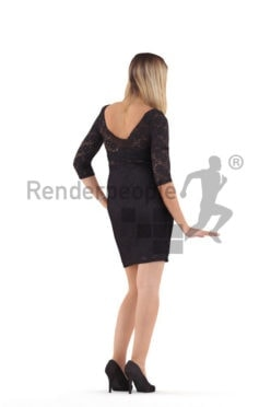 Photorealistic 3D People model by Renderpeople – european woman in chic event dress, standing and leaning on something