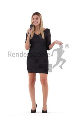 Photorealistic 3D People model by Renderpeople – european woman in event clothing, moderating or presenting