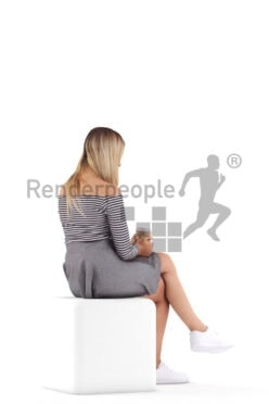 3D People model for 3ds Max and Blender – european woman in casual look, sitting and drinking coffee