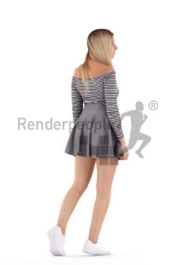 3D People model for 3ds Max and Cinema 4D – european female in a casual summer outfit, walking