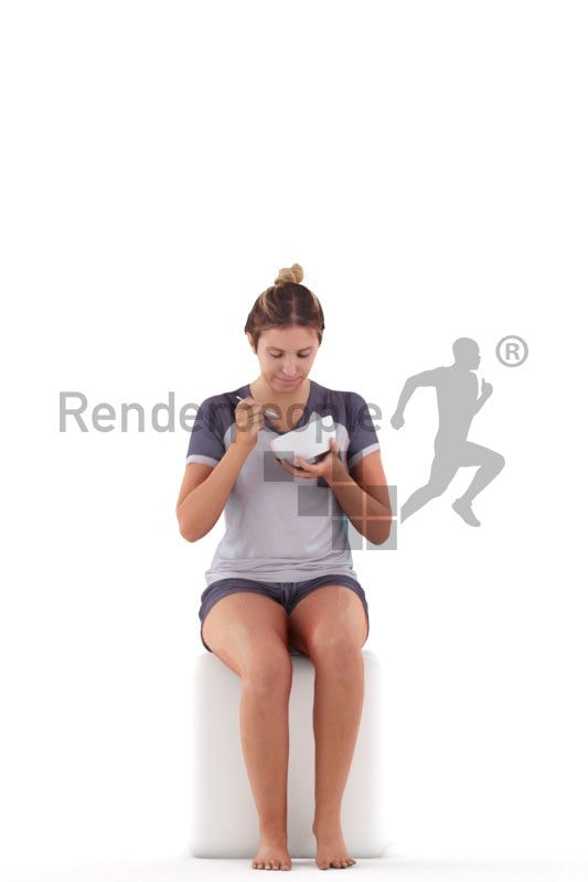 Posed 3D People model for renderings – european female in short pyjama, sitting and eating