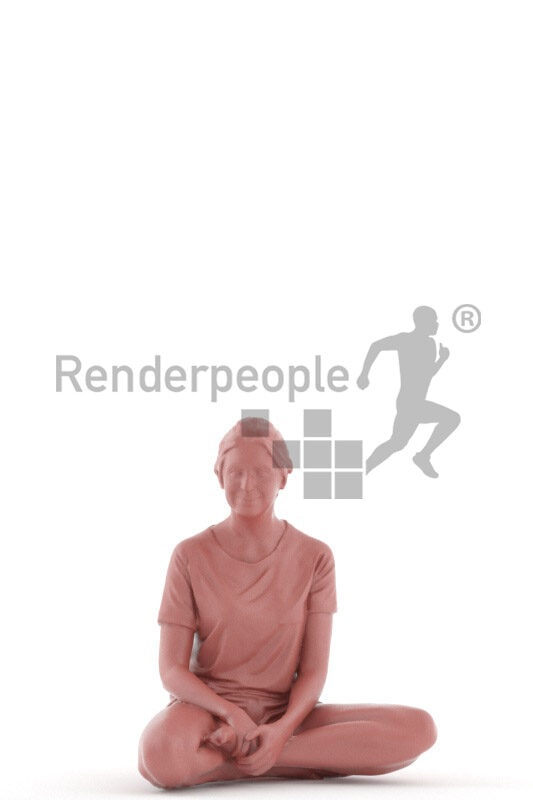 3D People model for 3ds Max and Cinema 4D – european woman in shorty sleepwear, sitting on the floor and watching tv