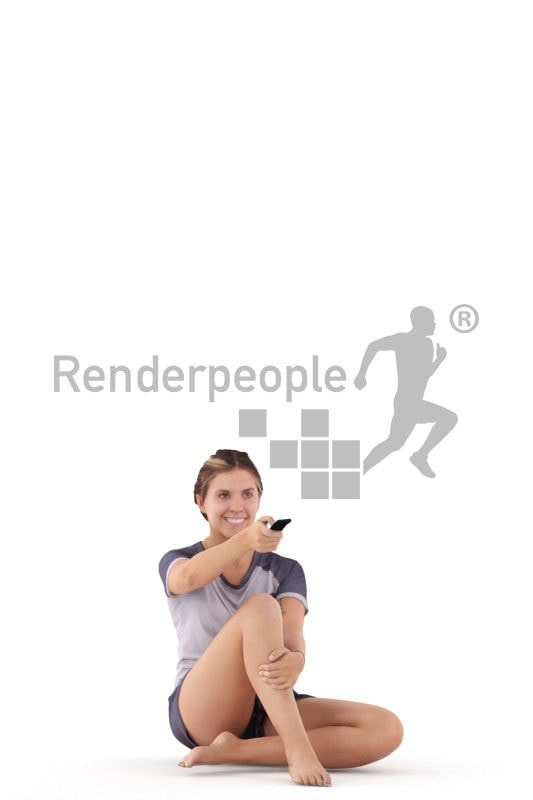 Posed 3D People model by Renderpeople – white female in sleepwear, sitting and using a remote controller