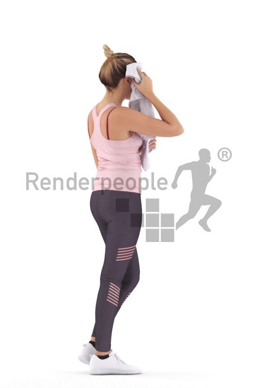 Scanned human 3D model by Renderpeople – european woman in sports outfit, using a towel