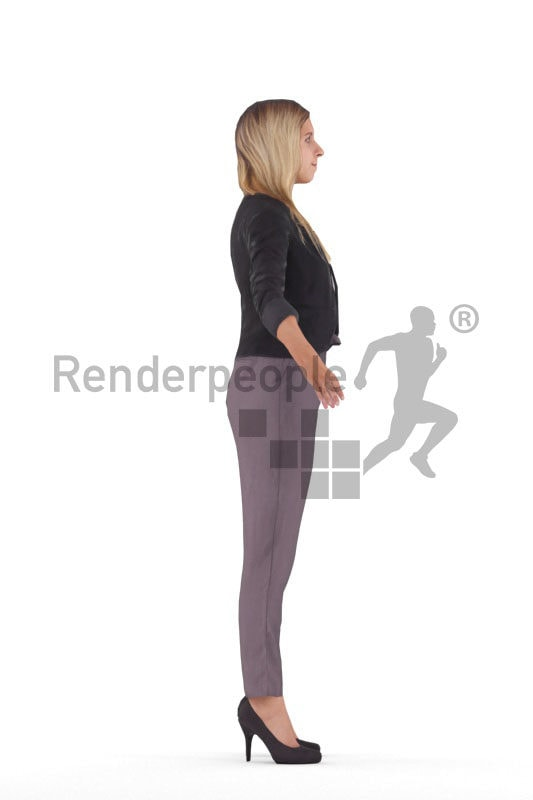 Rigged human 3D model by Renderpeople – european woman in business clothes