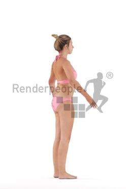 Rigged 3D People model for Maya and Cinema 4D – white woman in bikini, beach/ pool