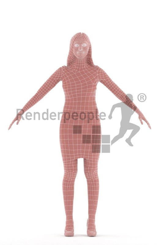Rigged 3D People model for Maya and 3ds Max – white woman, event dress