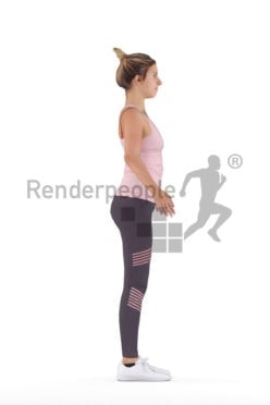 Rigged human 3D model by Renderpeople – white woman in work out clothes